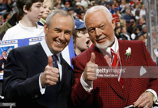 Ron MacLean and Don Cherry of CBC's Hockey Night in Canada give a thumbs up salute before a game between the Toronto Maple Leafs and the Ottawa...