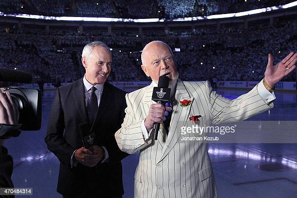 Ron MacLean and Don Cherry of Rogers Sportsnet stand on the ice prior to puck drop between the Winnipeg Jets and the Anaheim Ducks for Game Three of...