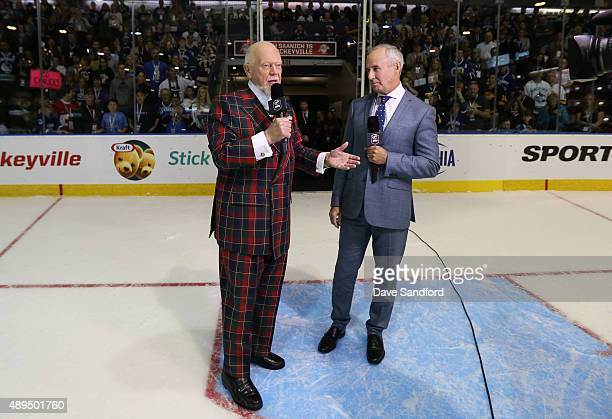 Ron MacLean and Don Cherry speak to the crowd in the first intermission of the San Jose Sharks Vancouver Canucks game during Day 3 of NHL Kraft...