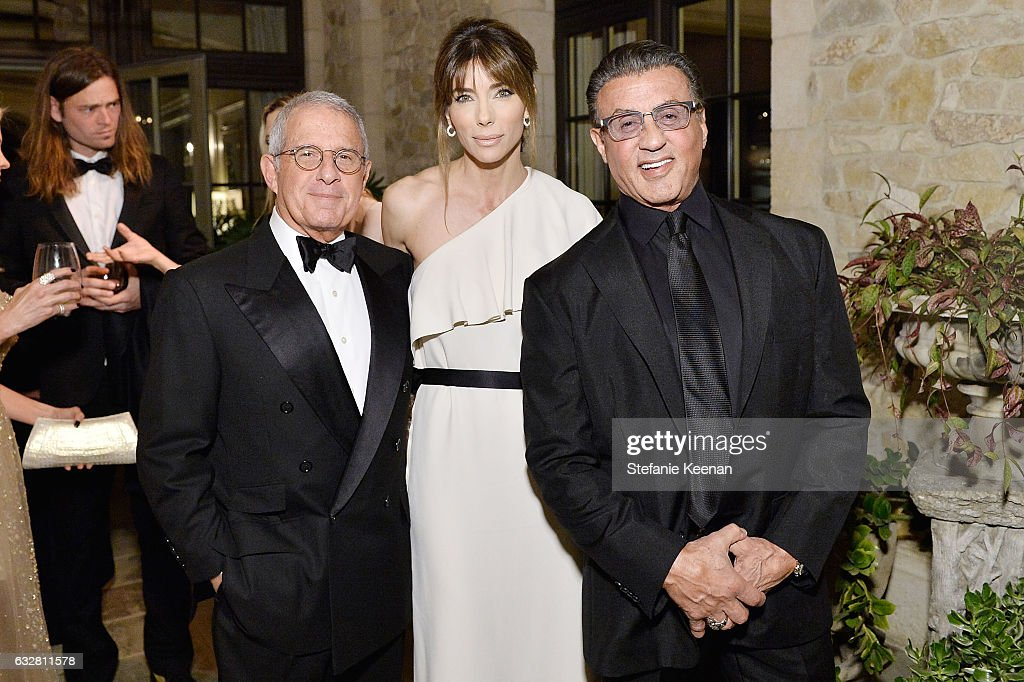 Ron Meyer, Jennifer Flavin and Sylvester Stallone attend PSLA partners with Carolina Herrera for Winter Gala on January 26, 2017 in Beverly Hills, California.