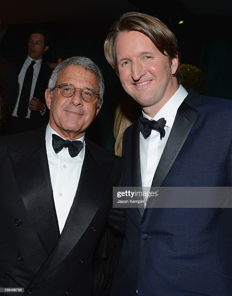 Ron Meyer, President, Chief Operating Officer, Universal Studios and director Tom Hooper attend the NBCUniversal Golden Globes viewing and after party held at The Beverly Hilton Hotel on January 13, 2013 in Beverly Hills, California.