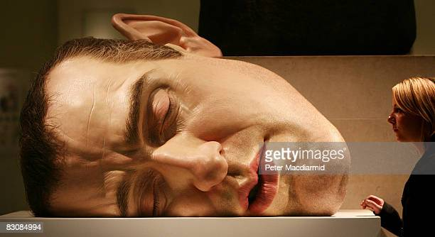 Ron Mueck's 'Mask II' is displayed at the British Museum Statuephilia Exhibition on October 2 2008 in London The exhibition opens to the public on...