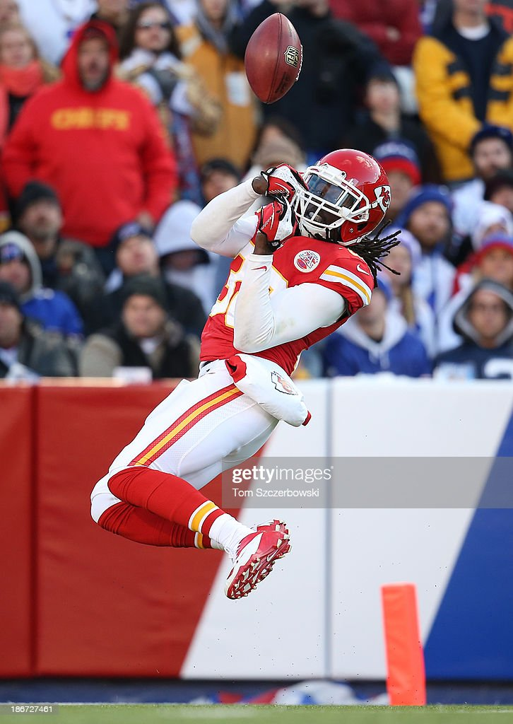 Ron Parker #38 of the Kansas City Chiefs downs the ball on a Chiefs' punt during NFL game action against the Buffalo Bills at Ralph Wilson Stadium on November 3, 2013 in Orchard Park, New York.