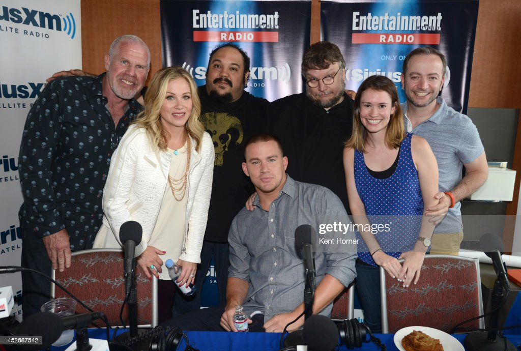 Ron Pearlman, Christina Applegate, Jorge Gutierrez, Channing Tatum and Guillermo del Toro pose with radio hosts Julia Cunningham and Mario Correa after being interviewed on SiriusXM's Entertainment Weekly Radio channel from Comic-Con 2014 at The Hard Rock Hotel on July 25, 2014 in San Diego, California.