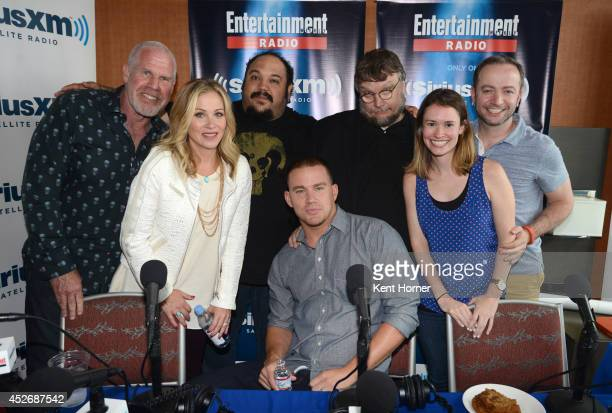 Ron Pearlman Christina Applegate Jorge Gutierrez Channing Tatum and Guillermo del Toro pose with radio hosts Julia Cunningham and Mario Correa after...