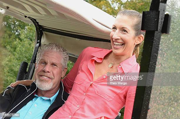 Ron Perlman and Alysia Reiner attend the Screen Actors Guild Foundation Inaugural New York Golf Classic at Trump National Golf Club Westchester on...