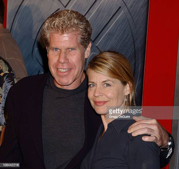 Ron Perlman and Linda Hamilton during 'Hellboy' Los Angeles Premiere Arrivals at Village Theatre in Westwood California United States