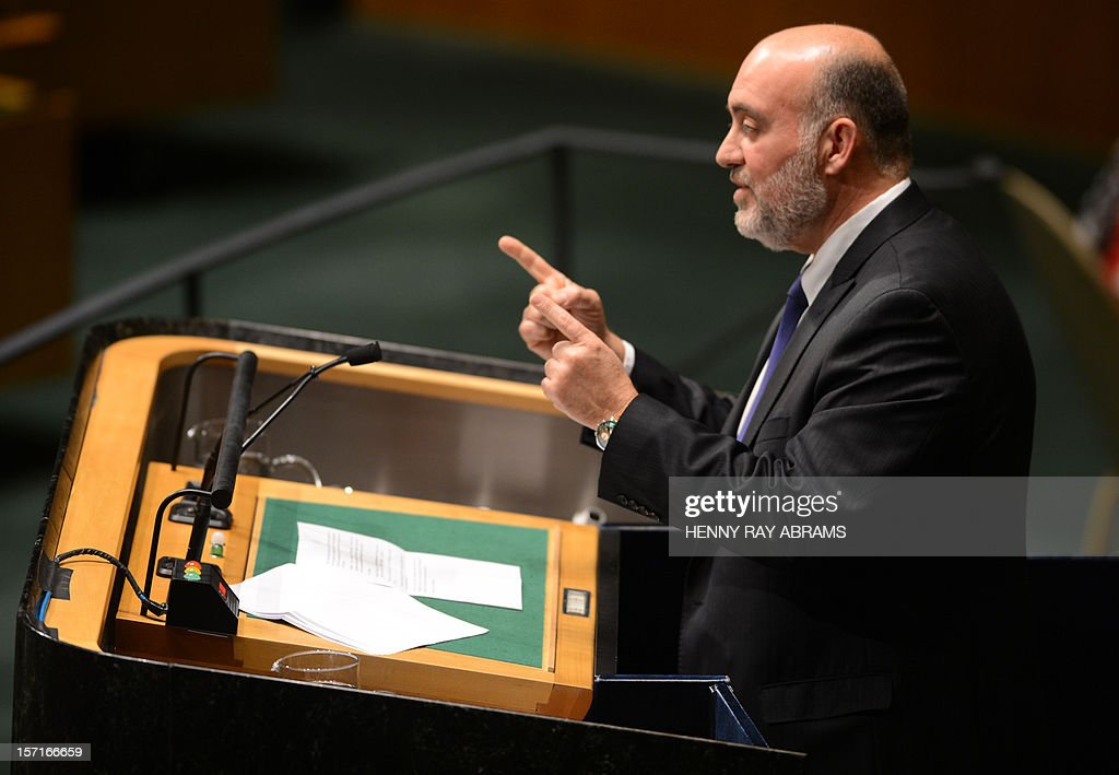 Ron Prosor, Israel's Permanent Representative to the United Nations speaks to the United Nations General Assembly before the body votes on a resolution to upgrade the status of the Palestinian Authority to a nonmember observer state November 29, 2012 at UN headquarters in New York. AFP PHOTO/Henny Ray Abrams