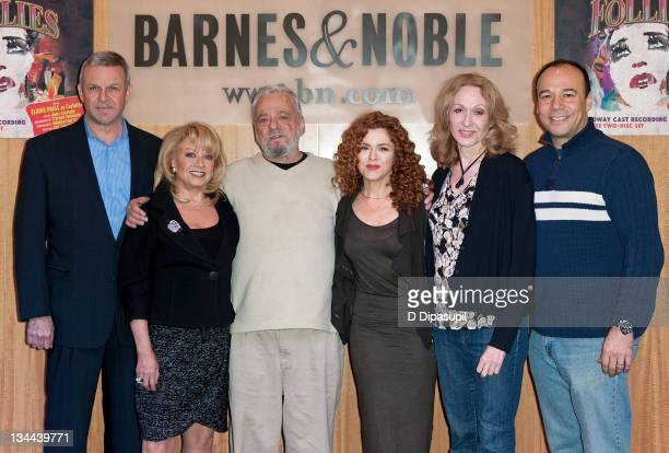 Ron Raines Elaine Paige Stephen Sondheim Bernadette Peters Jan Maxwell and Danny Burstein attend an event to promote the new 'FOLLIES' album at the...
