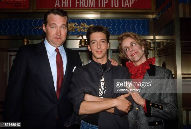 Ron Reagan Jr is photographed February 8 1986 at 'Saturday Night Live' with Randy Quaid as President Ronald Reagan and Terry Sweeney as Nancy Reagan
