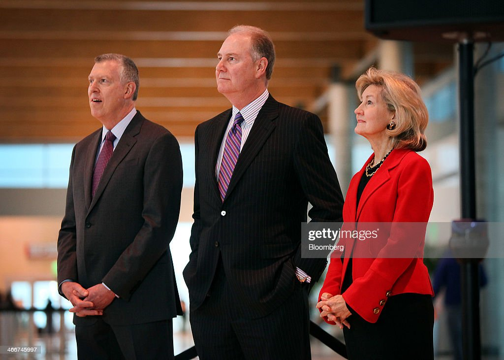 Ron Ricks, executive vice president and chief legal and regulatory officer for Southwest Airlines Co., from left, <a gi-track='captionPersonalityLinkClicked' href=/galleries/search?phrase=Gary+Kelly&family=editorial&specificpeople=453219 ng-click='$event.stopPropagation()'>Gary Kelly</a>, president and chief executive officer of Southwest Airlines Co., and Senator <a gi-track='captionPersonalityLinkClicked' href=/galleries/search?phrase=Kay+Bailey+Hutchison&family=editorial&specificpeople=218057 ng-click='$event.stopPropagation()'>Kay Bailey Hutchison</a>, a Republican from Texas, listen during a news conference at Dallas Love Field Airport in Dallas, Texas, U.S., on Monday, Feb. 3, 2014. Southwest Airlines Co., the largest domestic carrier, will begin flying to 15 new destinations from Dallas Love Field when flight restrictions at the airport closest to downtown end in October. Photographer Ben Torres/Bloomberg via Getty Images