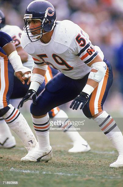 Ron Rivera of the Chicago Bears plays defense during game action in December 1987