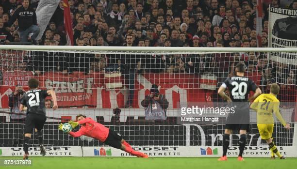 Ron Robert Zieler of Stuttgart saves a penalty of Andre Schuerrle of Dortmund during the Bundesliga match between VfB Stuttgart and Borussia Dortmund...