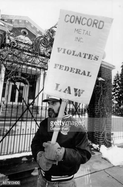 Ron Schaefer of the sheetmetal workers local picketed outside the governor's mansion on Eigth Ave The sign he carries refers to the Concord Metal Inc...