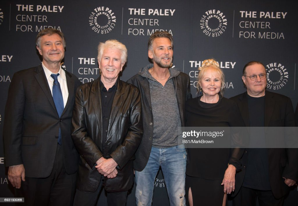 Ron Simon, Graham Nash, Kenny Loggins, Michelle Phillips and Allan Kozinn attend All You Need Is The Summer Of Love performance and discussion at The Paley Center for Media on June 6, 2017 in New York City.