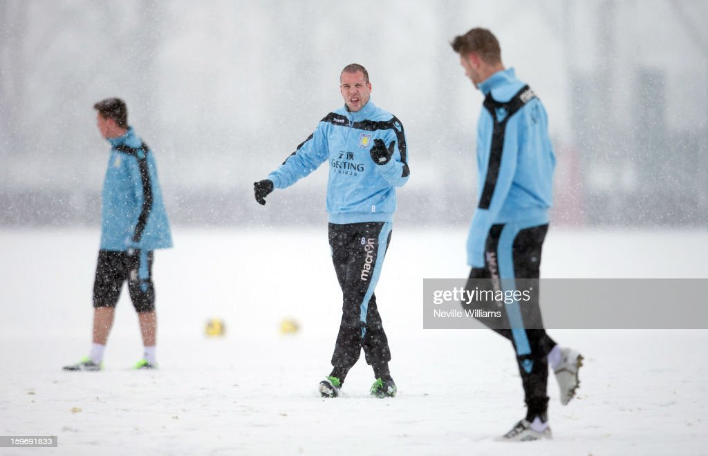 Ron Vlaar of Aston Villa in action during a Aston Villa training session at the club's training ground at Bodymoor Heath on January 18, 2013 in Birmingham, England.