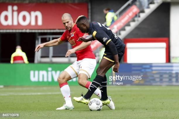 Ron Vlaar of AZ Thierry Ambrose of NAC Breda during the Dutch Eredivisie match between AZ Alkmaar and NAC Breda at AFAS stadium on September 10 2017...