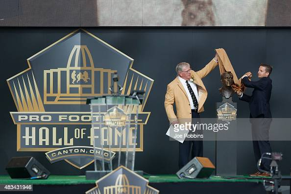 Ron Wolf is honored during the NFL Hall of Fame induction ceremony at Tom Benson Hall of Fame Stadium on August 8 2015 in Canton Ohio