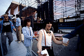Ron Wood and Bill Wyman of the Rolling Stones are photographed on June 2526 1982 backstage at Wimbley Stadium in London England CREDIT MUST READ Ken...