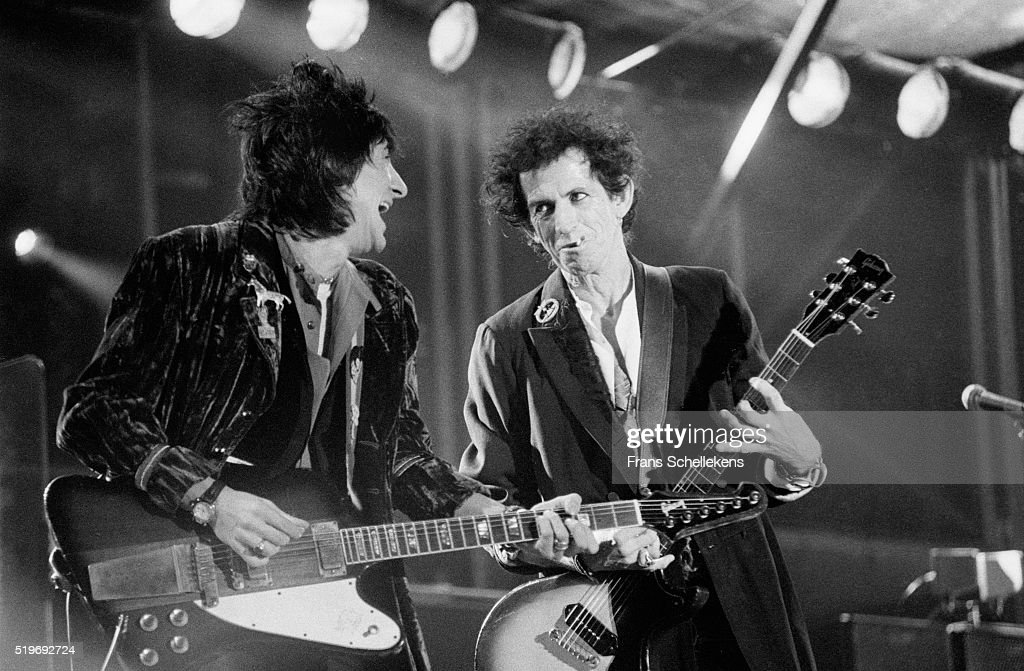 Ron Wood and Keith Richards guitar perform with Rolling Stones on August 30st 1995 at the Feijenoord Stadium in Rotterdam Netherlands