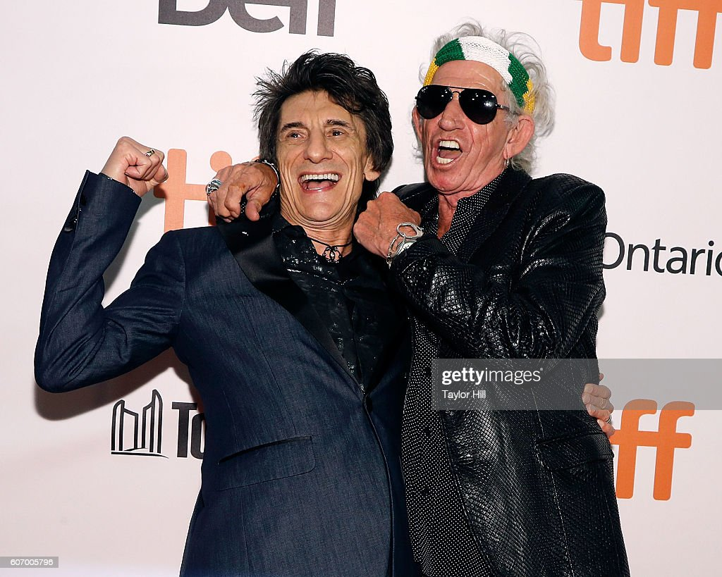 Ron Wood and Keith Richards of The Rolling Stones attend the premiere of 'The Rolling Stones: Ole Ole Ole: A Trip Across Latin America' during the 2016 Toronto International Film Festival at Roy Thomson Hall on September 16, 2016 in Toronto, Canada.
