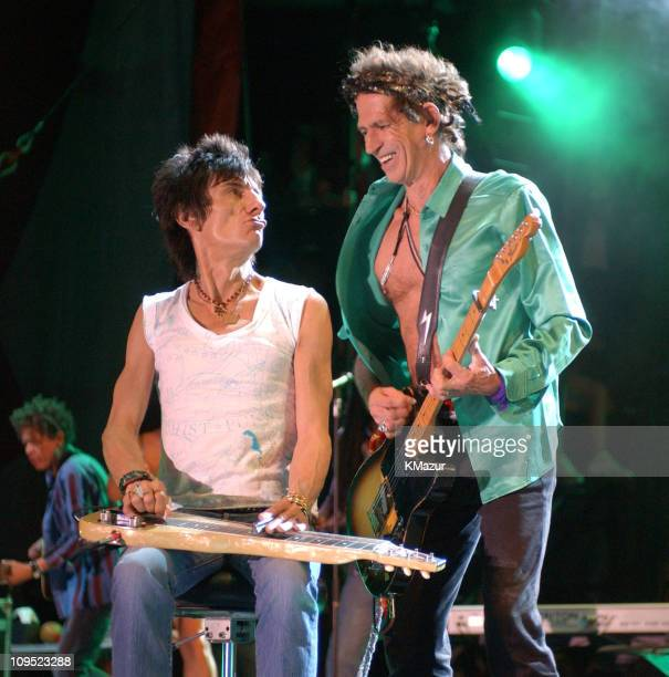 Ron Wood and Keith Richards of The Rolling Stones during Molson Canadian Rocks for Toronto Show at Downsview Park in Toronto Ontario Canada