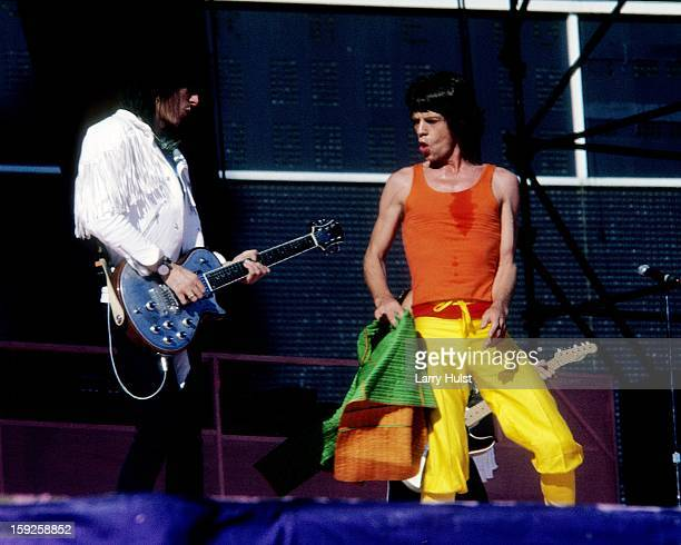 Ron Wood and Mick Jagger performing with 'Rolling Stones' at the Candlestick Park in San Francisco California on October 17 1981