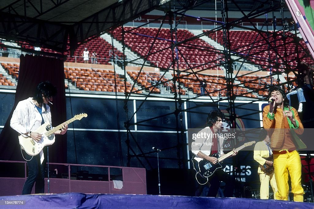 Ron Wood Keith Richards and Mick Jagger performing with 'The Rolling Stones' at the Candlestick Park in San Francisco California on October 17 1981