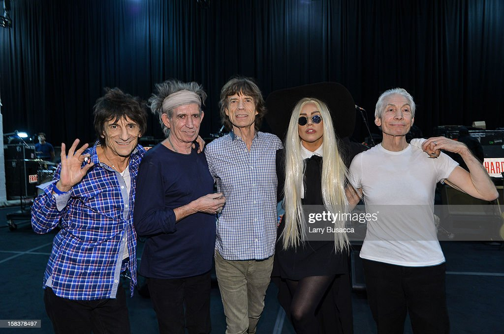 Ron Wood, Keith Richards, Mick Jagger and Charlie Watts of The Rolling Stones rehearse with their special guest Lady Gaga on December 14, 2012 in New York City in preparation for their pay-per-view concert that will be telecast live worldwide this Saturday, December 15 at 9pm EST and 6pm PST.
