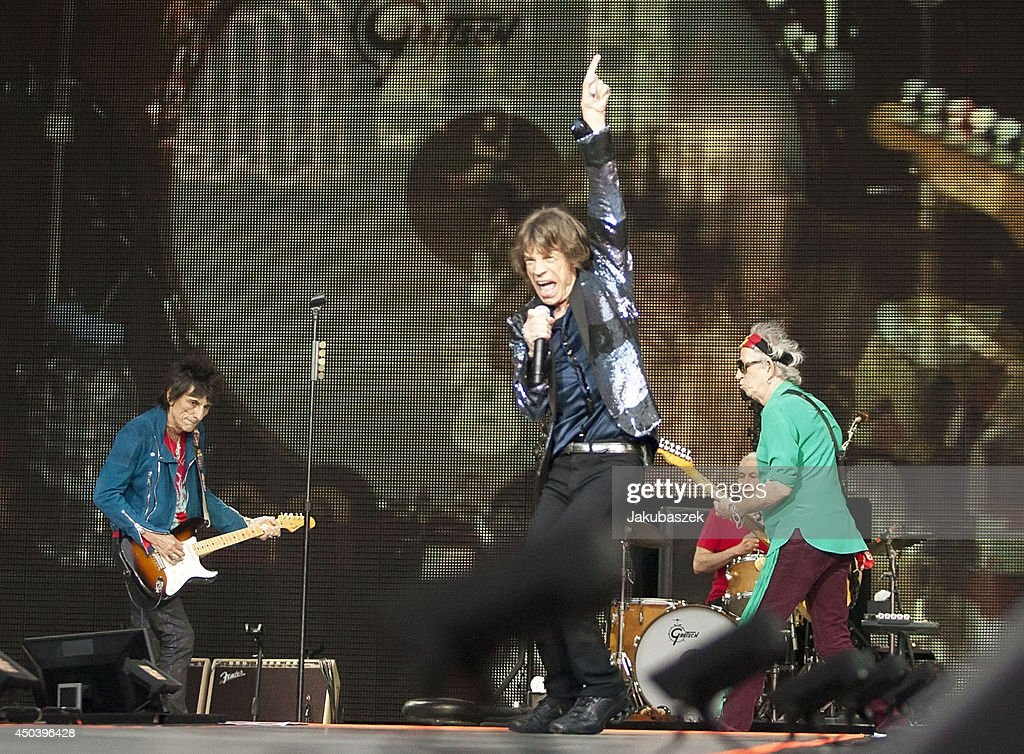 Ron Wood, Mick Jagger and Keith Richards and of the British band The Rolling Stones perform live during a concert at the Waldbuehne on June 10, 2014 in Berlin, Germany.