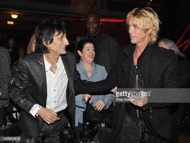 Ron Wood of Faces and Duff McKagan of Guns N' Roses attend the 27th Annual Rock And Roll Hall Of Fame Induction Ceremony at Public Hall on April 14...