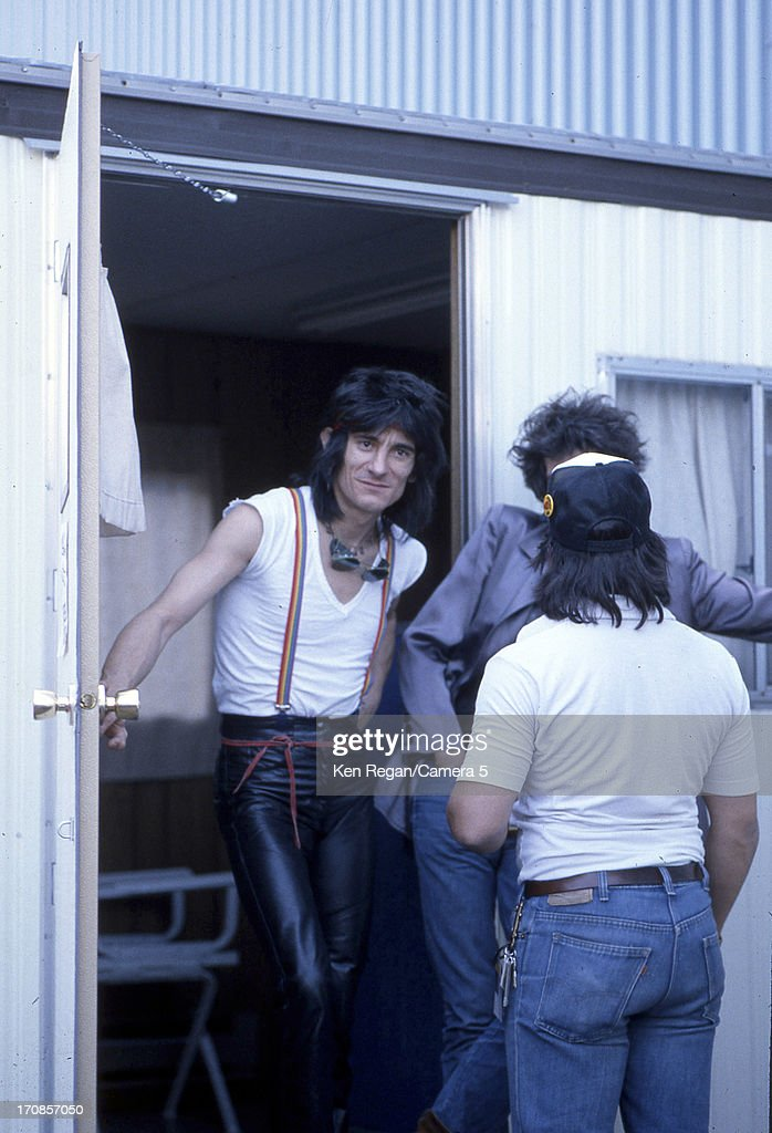 Ron Wood of the Rolling Stones is photographed on June 25-26, 1982 backstage at Wimbley Stadium in London, England.