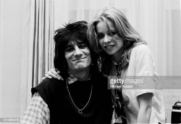 Ron Wood of the Rolling Stones with wife Jo Wood portrait New York 1978