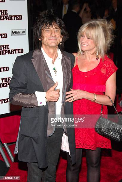Ron Wood with his wife Jo Wood during 'The Departed' New York City Premiere at Ziegfeld Theater in New York City New York United States