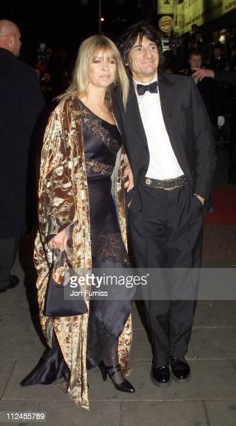 Ron Wood with wife Jo Wood during The Royal Variety Performance 2001 at Dominion Theatre in London Great Britain