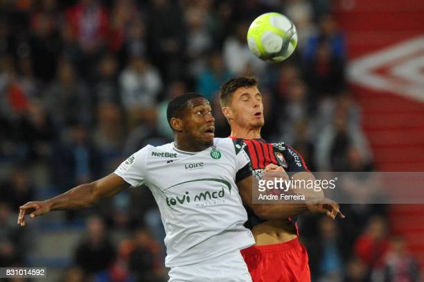 Ronael Pierre Gabriel of Saint Etienne and Frederic Guilbert of Caen during the Ligue 1 match between SM Caen and AS Saint Etienne at Stade Michel...