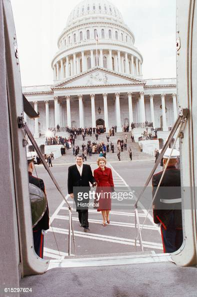 Ronald and Nancy Reagan leave the Capitol Building on his last day in office