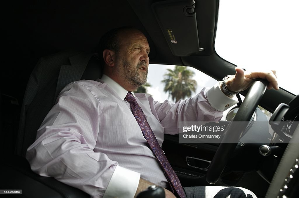 Ronald Book, a powerful Florida lobbyist poses for photos in his car on June 19, 2009 in Miami, Florida. Mr Book used his connections to make sure about 75 sexual offenders live under the Julia Tuttle causeway bridge due to zoning restrictions that leave them nowhere else to go.