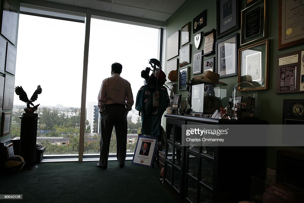 Ronald Book, a powerful Florida lobbyist poses for photos in his office on June 19, 2009 in Miami, Florida. Mr Book used his connections to make sure about 75 sexual offenders live under the Julia Tuttle causeway bridge due to zoning restrictions that leave them nowhere else to go.