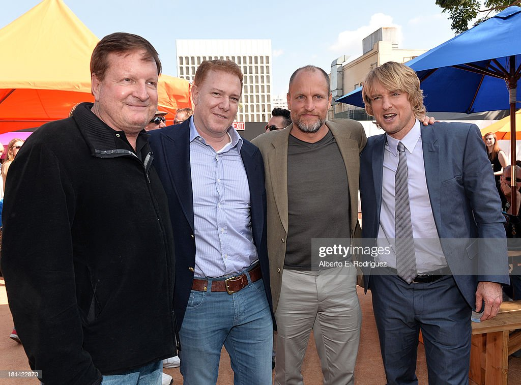 Ronald Burkle, Relativity Media's <a gi-track='captionPersonalityLinkClicked' href=/galleries/search?phrase=Ryan+Kavanaugh&family=editorial&specificpeople=4275646 ng-click='$event.stopPropagation()'>Ryan Kavanaugh</a>, actors <a gi-track='captionPersonalityLinkClicked' href=/galleries/search?phrase=Woody+Harrelson&family=editorial&specificpeople=208923 ng-click='$event.stopPropagation()'>Woody Harrelson</a> and <a gi-track='captionPersonalityLinkClicked' href=/galleries/search?phrase=Owen+Wilson&family=editorial&specificpeople=202027 ng-click='$event.stopPropagation()'>Owen Wilson</a> attend the premiere of Relativity Media's 'Free Birds' after party at the Westwood Village Theatre on October 13, 2013 in Hollywood, California.