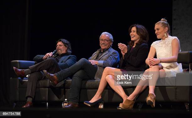 Ronald D Moore Edward James Olmos Mary McDonnell and Katee Sackhoff attend the closing night reunion panel of Battlestar Galactica at the Paramount...