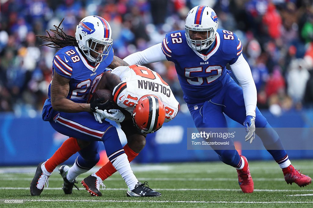 Ronald Darby #28 of the Buffalo Bills tackles Corey Coleman #19 of the Cleveland Browns during the first half at New Era Field on December 18, 2016 in Orchard Park, New York.