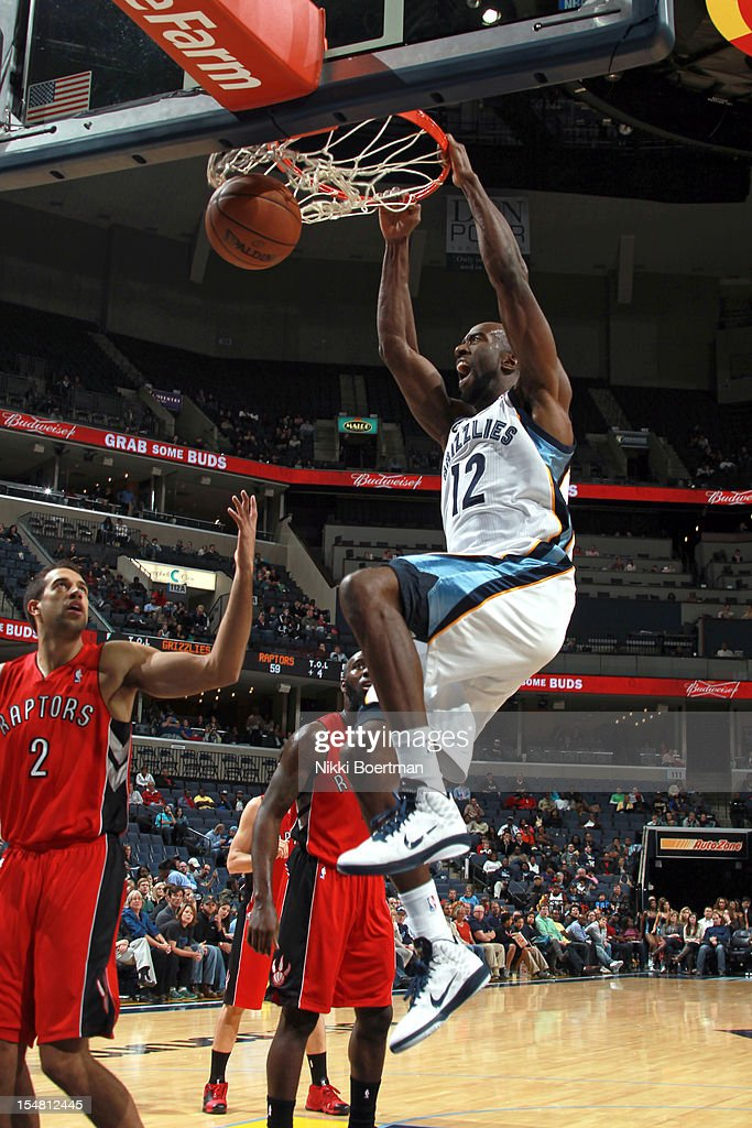 <a gi-track='captionPersonalityLinkClicked' href=/galleries/search?phrase=Ronald+Dupree&family=editorial&specificpeople=209097 ng-click='$event.stopPropagation()'>Ronald Dupree</a> #12 of the Memphis Grizzlies dunks against the Toronto Raptors on October 26, 2012 at FedExForum in Memphis, Tennessee.