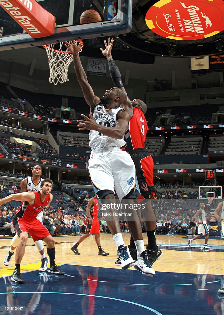 <a gi-track='captionPersonalityLinkClicked' href=/galleries/search?phrase=Ronald+Dupree&family=editorial&specificpeople=209097 ng-click='$event.stopPropagation()'>Ronald Dupree</a> #12 of the Memphis Grizzlies shoots a layup against <a gi-track='captionPersonalityLinkClicked' href=/galleries/search?phrase=Quincy+Acy&family=editorial&specificpeople=5674079 ng-click='$event.stopPropagation()'>Quincy Acy</a> #4 of the Toronto Raptors on October 26, 2012 at FedExForum in Memphis, Tennessee.