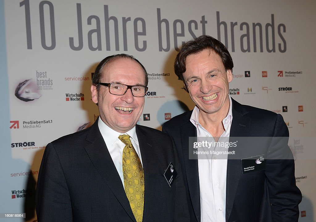 Ronald Focken of Seviceplan and Christian Koehler of Markenverband attend the Best Brands 2013 Gala at Bayerischer Hof on February 6, 2013 in Munich, Germany.