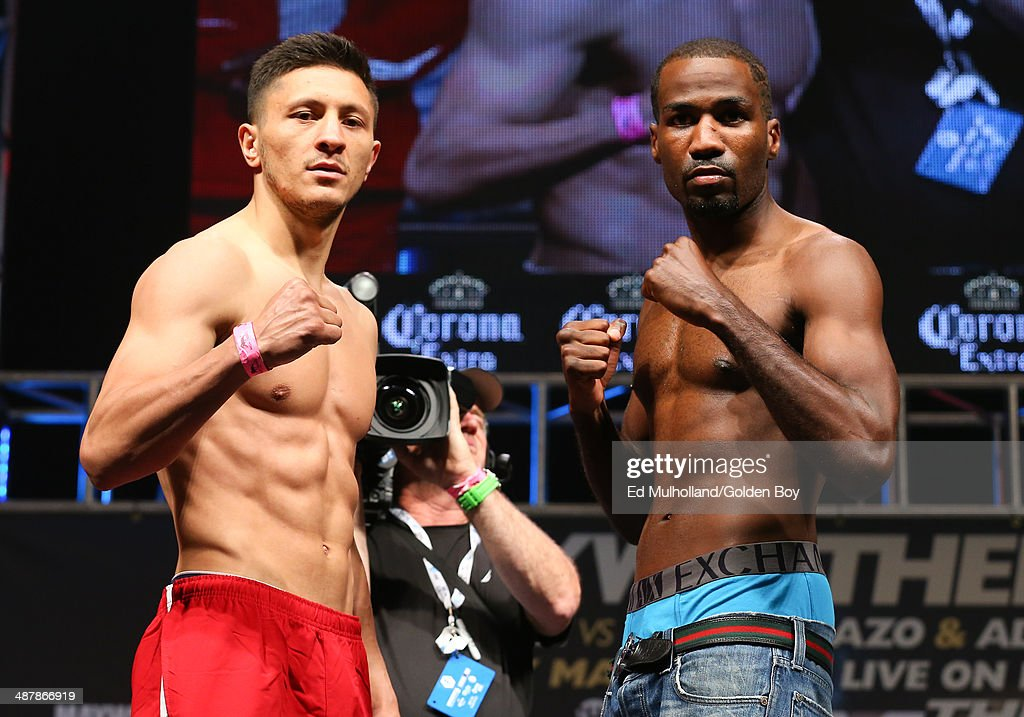Ronald Gavril (left) and Tyrell Hendrix (right) face off after weighing in for their super middleweight fight at the MGM Grand Garden Arena on May 2, 2014 in Las Vegas, Nevada.