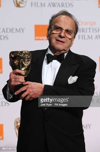 Ronald Harwood with the award for Best Adapted Screenplay recieved for The Diving Bell And The Butterfly during the 2008 Orange British Academy Film...