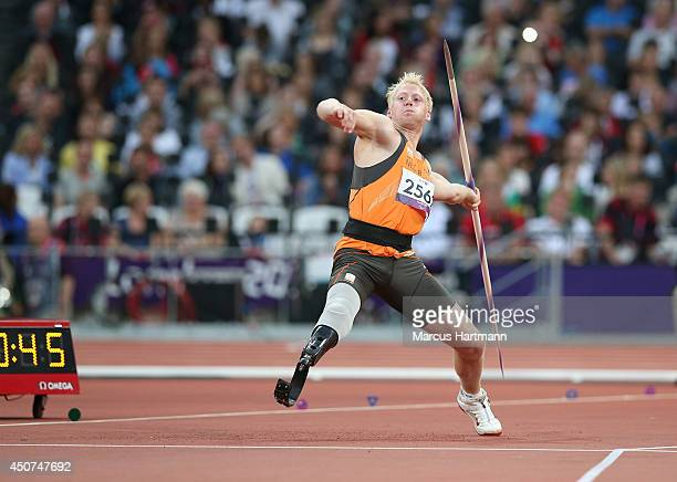 Ronald Hertog of the Netherlands competes in the Men's Javelin Throw F44 Final on day 4 of the London 2012 Paralympic Games at Olympic Stadium on...