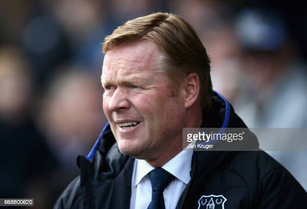 Ronald Koeman anager of Everton looks on prior to the Premier League match between Everton and Burnley at Goodison Park on April 15 2017 in Liverpool...