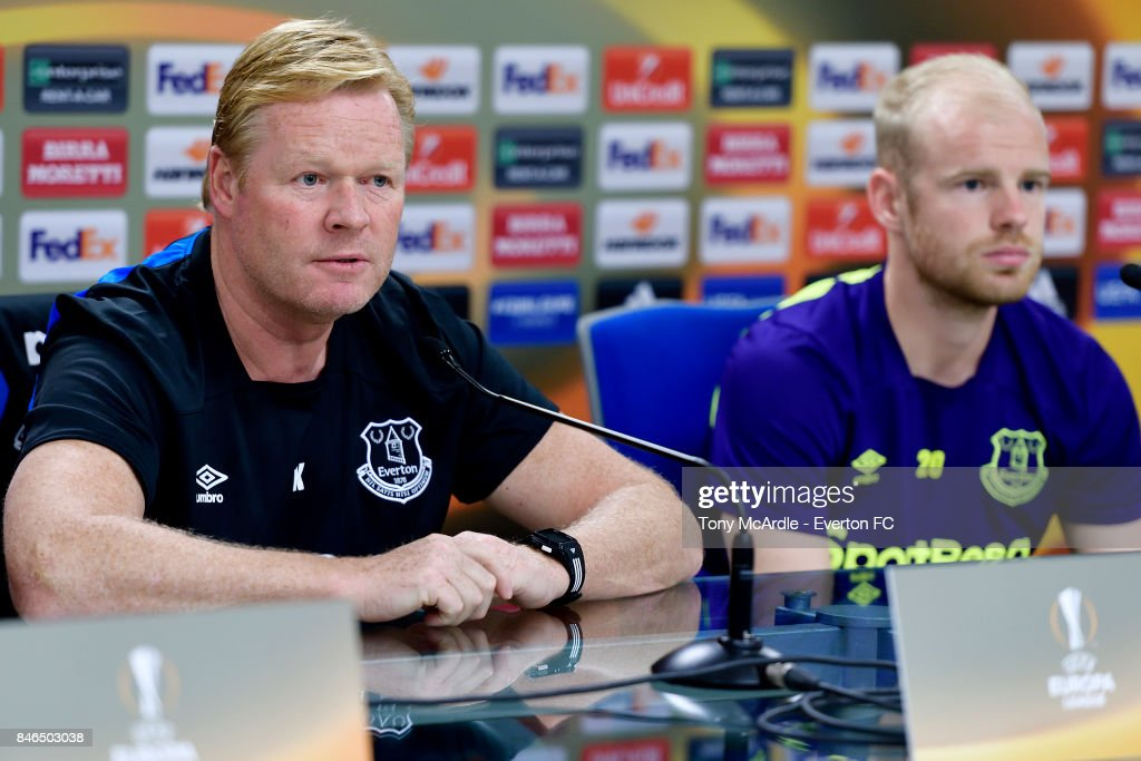 Ronald Koeman and Davy Klaassen during the Everton press conference, on the eve of their UEFA Europa League group E match against Atalanta, at Mapei Stadium on September 13, 2017 in Reggio nell'Emilia, Italy.